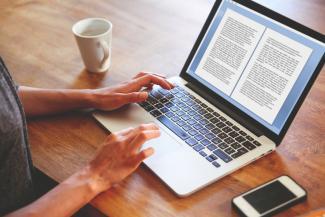 Woman novelist working on computer