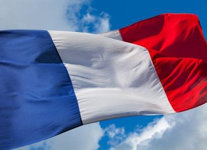 The French flag flying