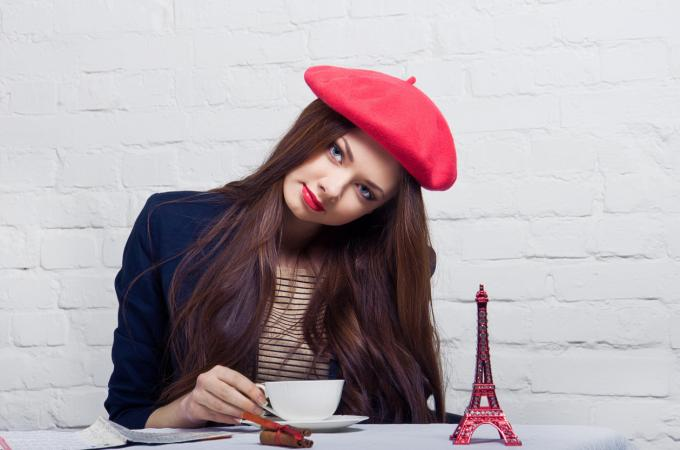 french girl in cafe