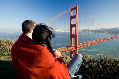 Couple overlooking Golden Gate Bridge