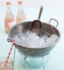 Colander used as an ice bucket