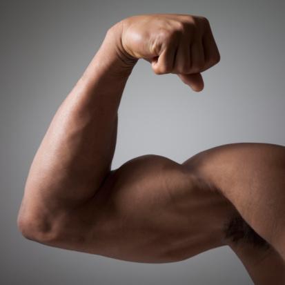 Flexed muscular arm