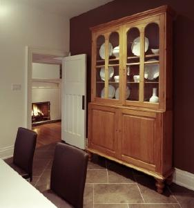A glass front china cabinet