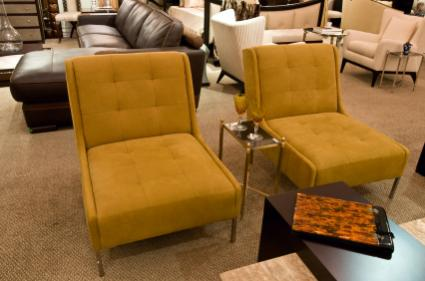 Two chairs in a furniture showroom