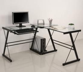 3 piece glass corner desk