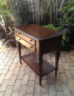 Ethan Allen Table With Cane Shelf