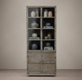 Restoration Hardware Industrial Tool Chest Glass Sideboard and Hutch
