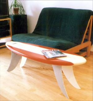 Surfboard coffee table at MarkBeam.com