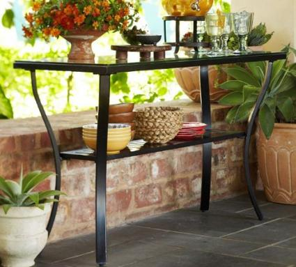 Outdoor Aluminum Riviera Console Patio Table