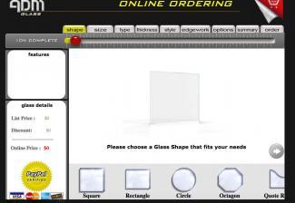 Screenshot of ADM Glass online ordering