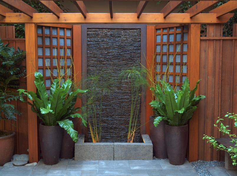 stained wooden arbor with sleek aesthetic