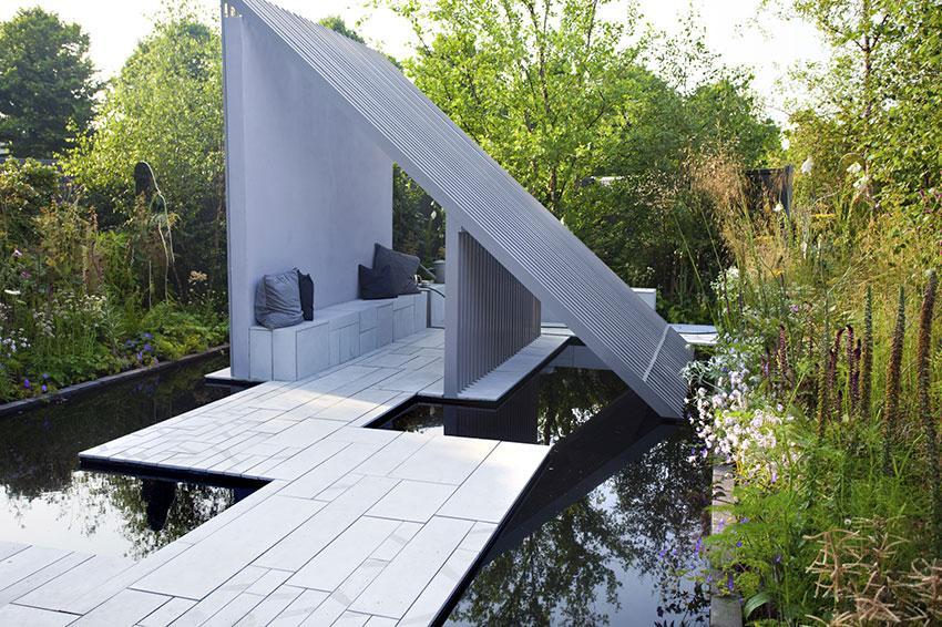 modernist gazebo in a pond setting