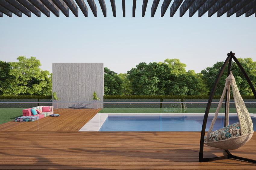 pool with modern furniture