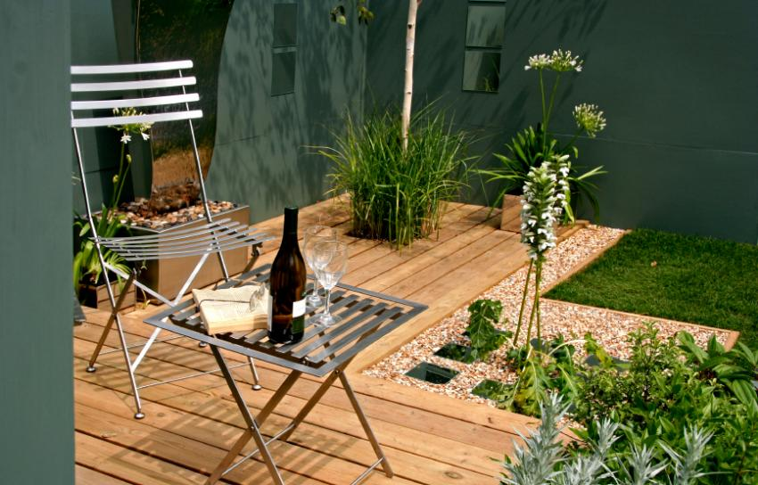 small deck with table and chairs