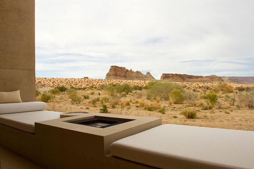 modernist desert landscape with fire pit