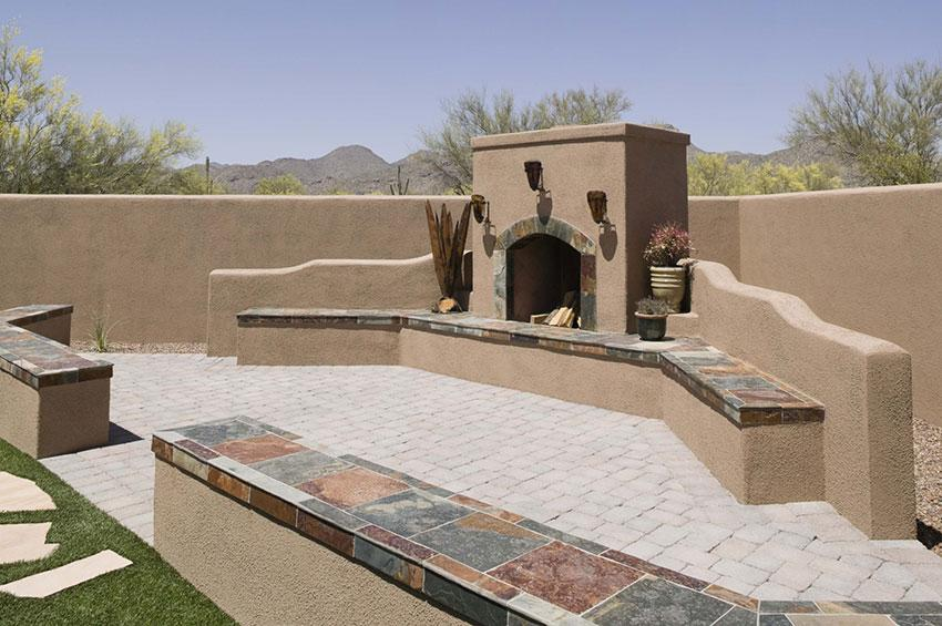 large fireplace in desert setting