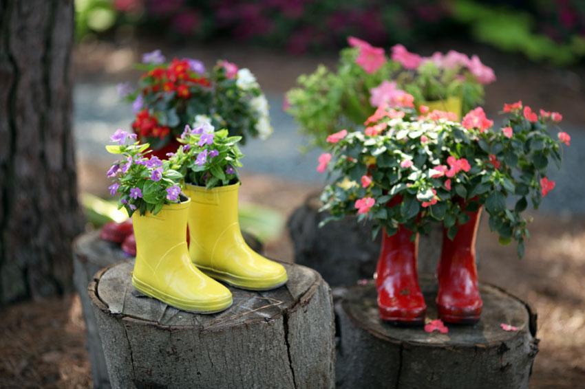 Rain boot planters
