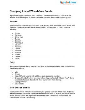 wheat-free shopping list