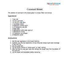 Cornmeal bread recipe