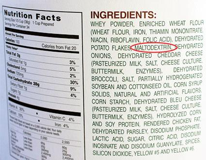Maltodextrin listed in ingredients food label