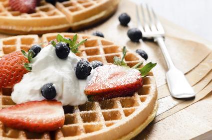 Waffles with fresh fruit