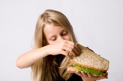 Girl with sandwich