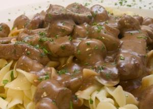 Beef stroganoff is a favorite gourmet food.