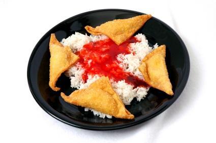 Crab Rangoon and rice