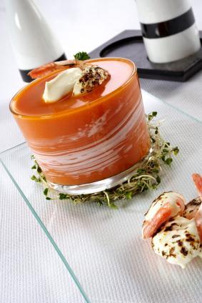 Shrimp Bisque (Bisques de Crevettes) with Cream Swirls