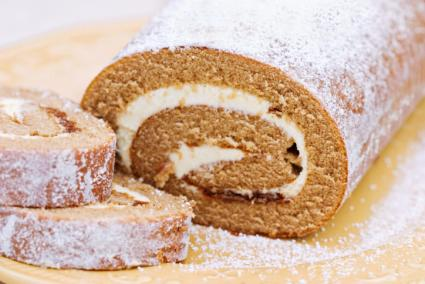 pumpkin roulade with cream cheese filling