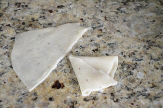 Rolling samosas at Ruchis Kitchen