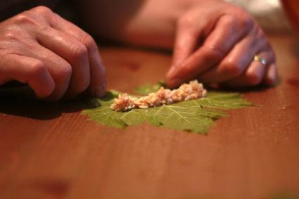 stuffing a grape leaf