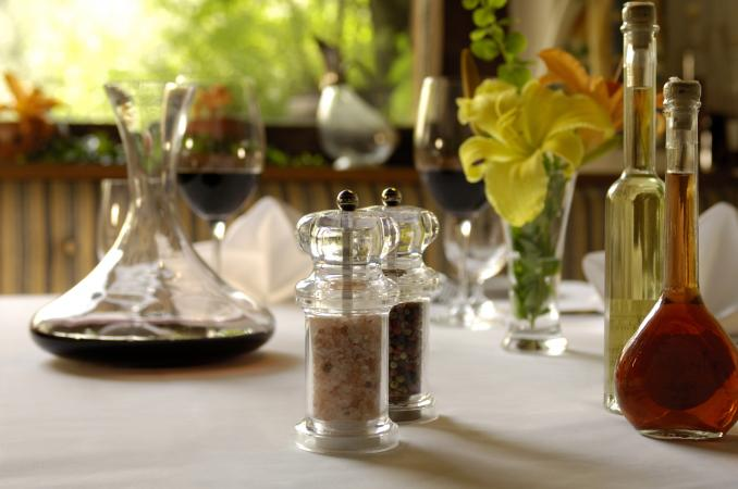 vinegars and wine at table