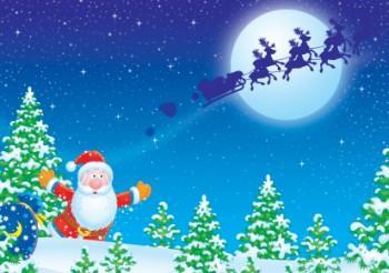 Santa and sleigh winter scene