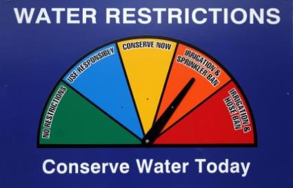 Water restrictions sign