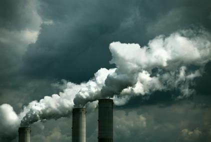 Smoke stacks polluting the sky