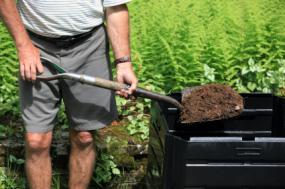 man composting