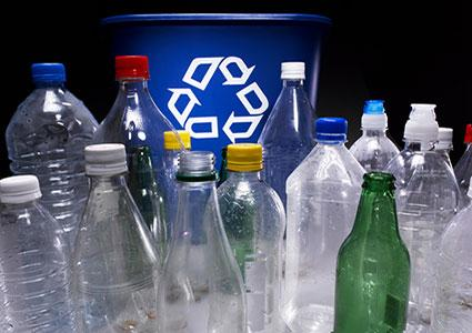 recycling glass and plastic bottles