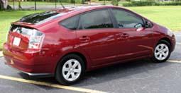 red hybrid car