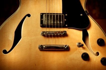 Close up of vintage Japanese guitar.