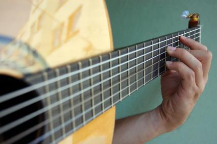 Classical guitar being played