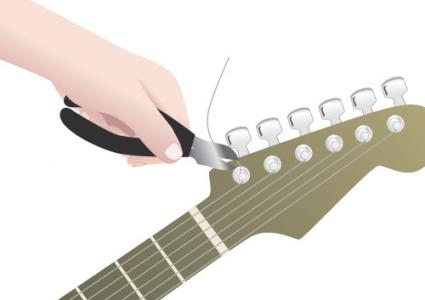 Restringing an electric guitar step 3