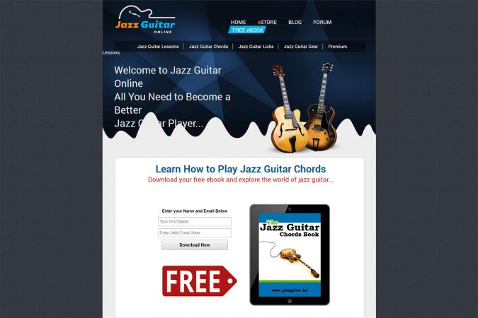 Screenshot of JazzGuitar.be website