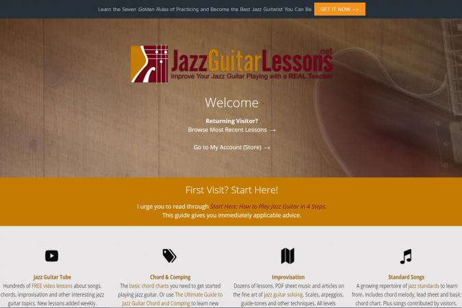 Screenshot of JazzGuitarLessons.net website