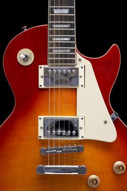 Closeup of Les Paul electric guitar