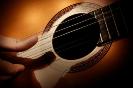Classical guitar soundhole closeup