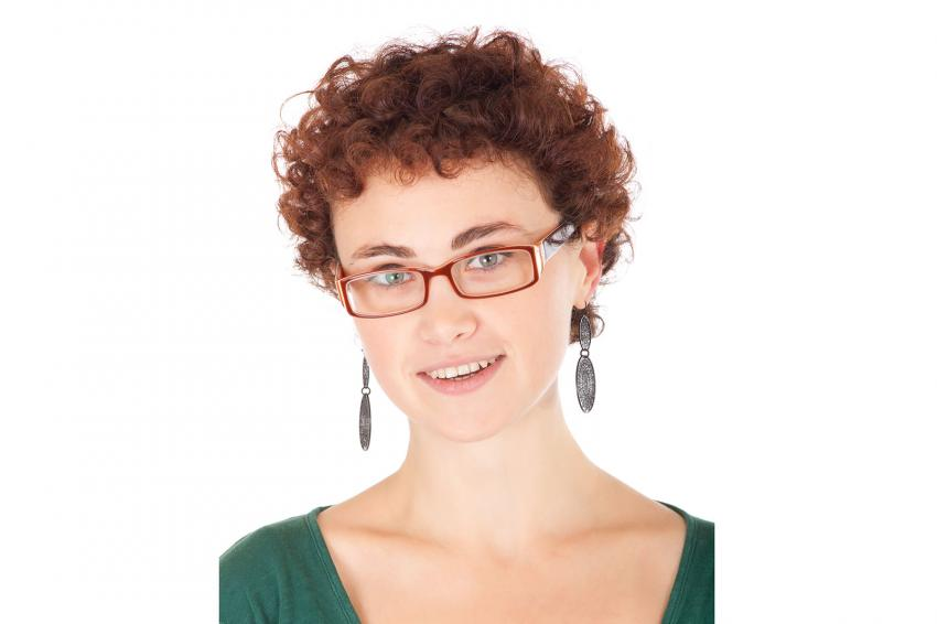 Short curly hair and glasses