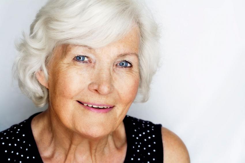 natural gray hair on senior woman