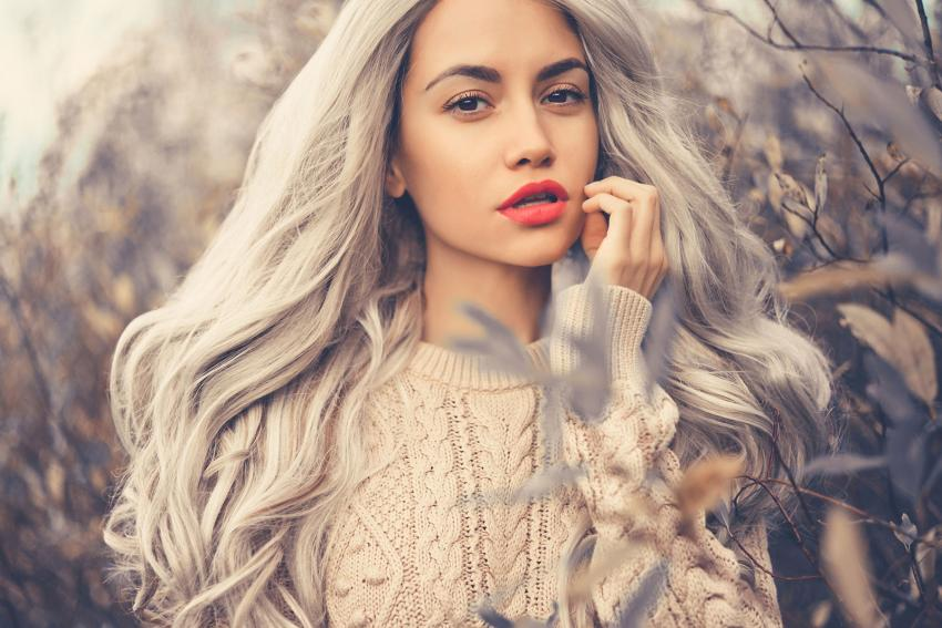 long gray hair on young woman