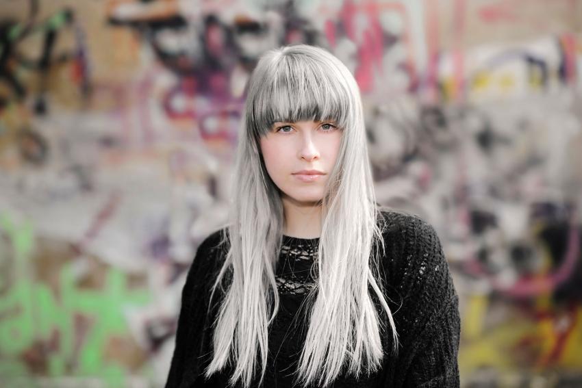 long gray hair and bangs